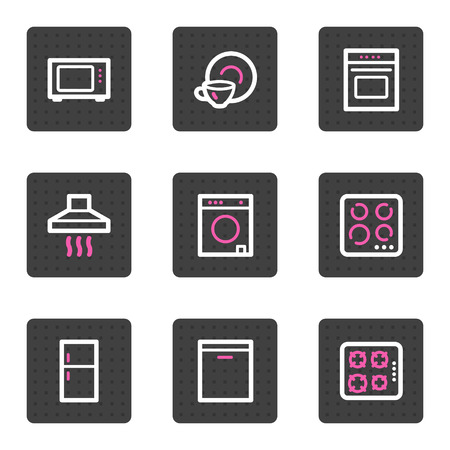gas laundry: Home appliances web icons, grey square buttons series
