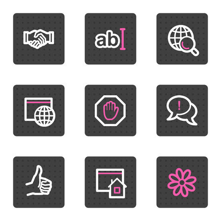 Internet web icons, grey square buttons series
