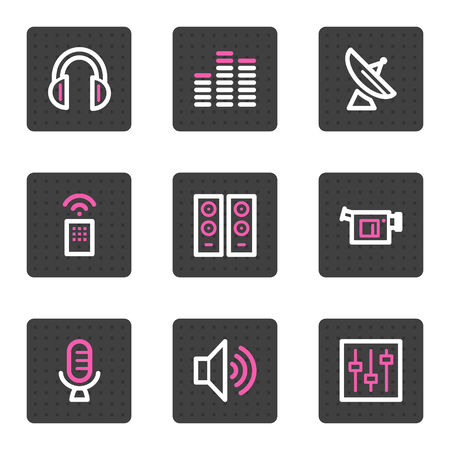 videocamera: Media web icons, grey square buttons series