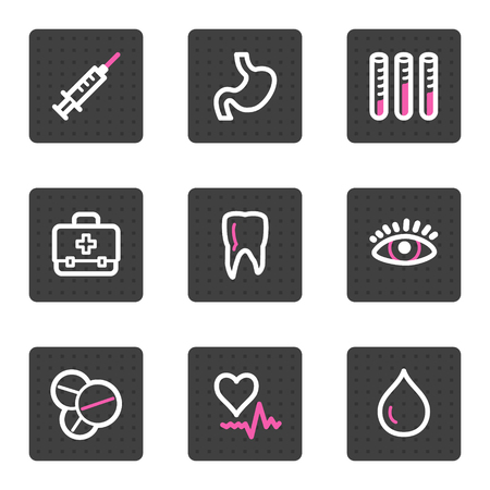 Medicine web icons, grey square buttons series Vector