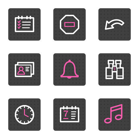 Organizer web icons, grey square buttons series Vector