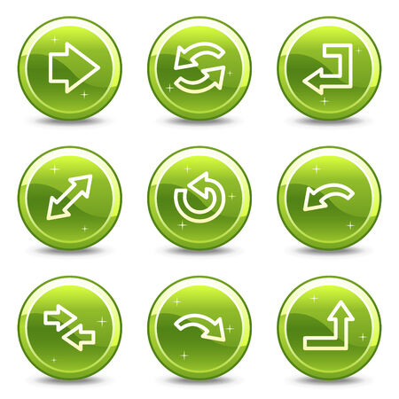 Arrows web icons, green glossy circle buttons series Stock Vector - 4345169