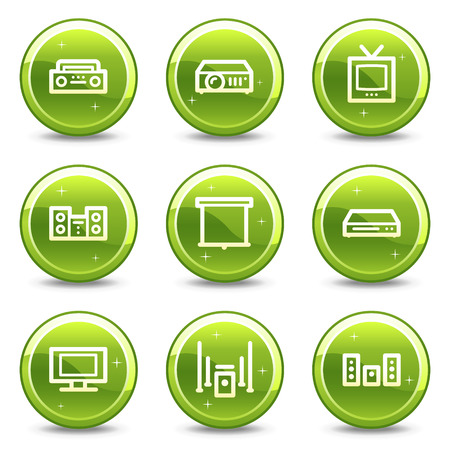 Audio video web icons, green glossy circle buttons series Vector