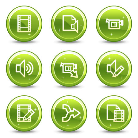 videocamera: Audio video editing web icons, green glossy circle buttons series