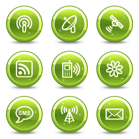 Communication web icons, green glossy circle buttons series