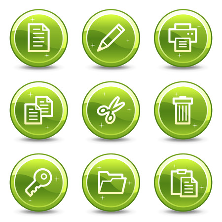 Document web icons, green glossy circle buttons series Vector
