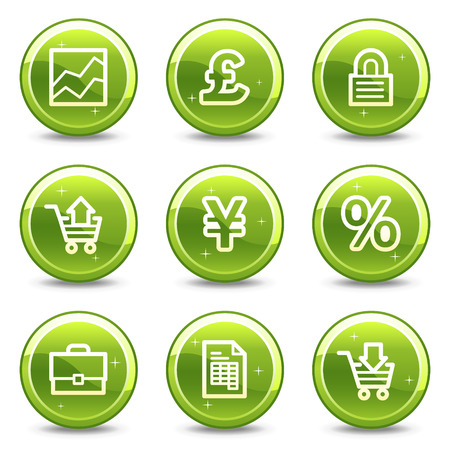 E-business web icons, green glossy circle buttons series Vector