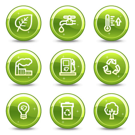Ecology web icons, green glossy circle buttons series Vector
