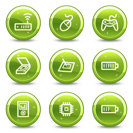 Electronics web icons, green glossy circle buttons series set 2 Stock Vector - 4401599
