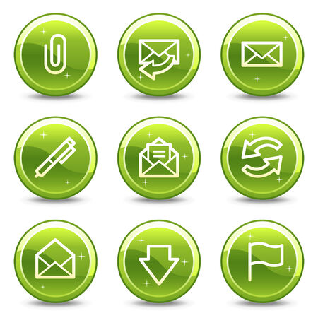 E-mail web icons, green glossy circle buttons series Vector