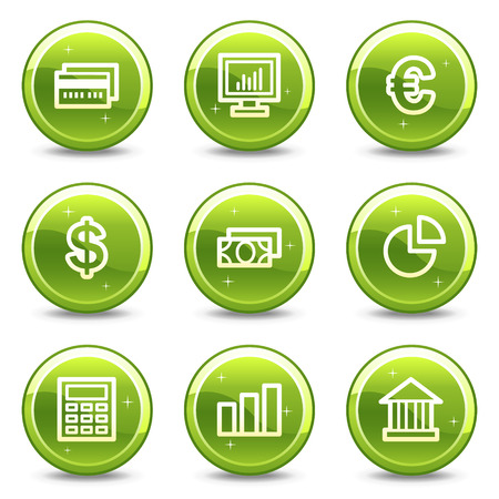 Finance web icons, green glossy circle buttons series Vector