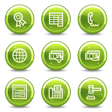 Finance web icons, green glossy circle buttons series set 2 Vector