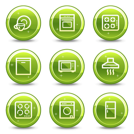 gas laundry: Home appliances web icons, green glossy circle buttons series
