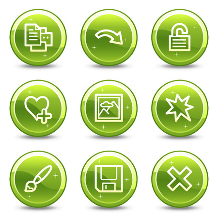 Image viewer web icons, green glossy circle buttons series set 2 Stock Vector - 4401578