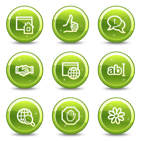 Internet communication web icons, green glossy circle buttons series Vector