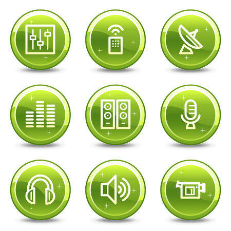 Media web icons, green glossy circle buttons series