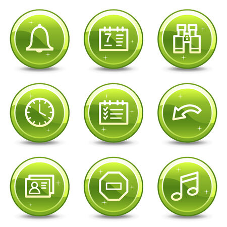 Organizer web icons, green glossy circle buttons series Stock Vector - 4401579