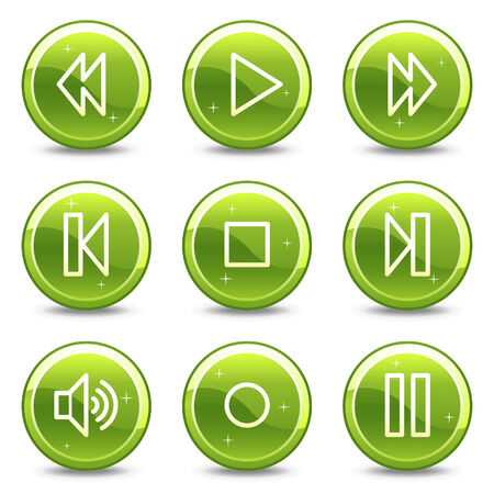 Walkman web icons, green glossy circle buttons series Vector