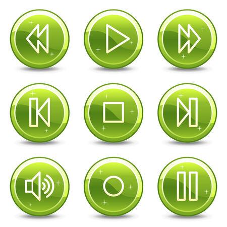 Walkman web icons, green glossy circle buttons series Vector