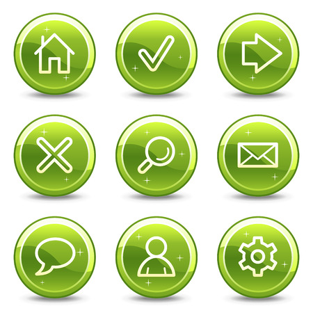 Basic web icons, green glossy circle buttons series Vector