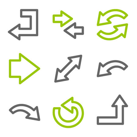 back link: Arrows web icons, green and gray contour series Illustration
