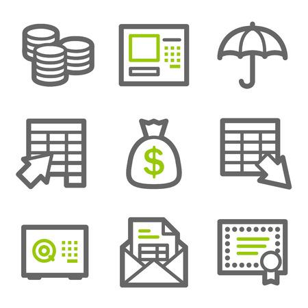 バンキング: 銀行の web アイコン、緑と灰色の輪郭シリーズ