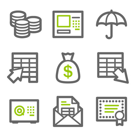 Banking web icons, green and gray contour series Vector