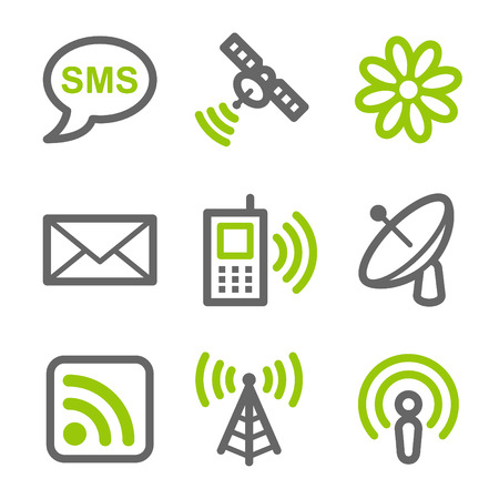 antennas: Communication web icons, green and gray contour series Illustration