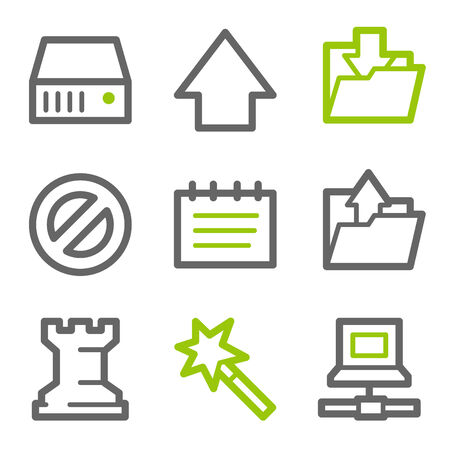 Data web icons, green and gray contour series Stock Vector - 4437106