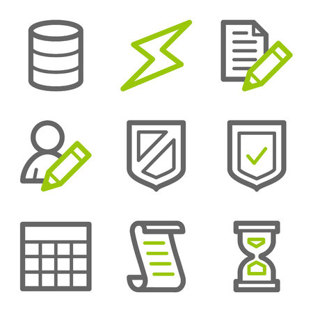 Database web icons, green and gray contour series Vector