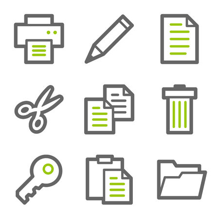 Document web icons, green and gray contour series Vector