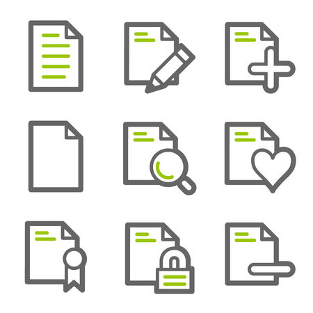 Document web icons, green and gray contour series set 2 Vector