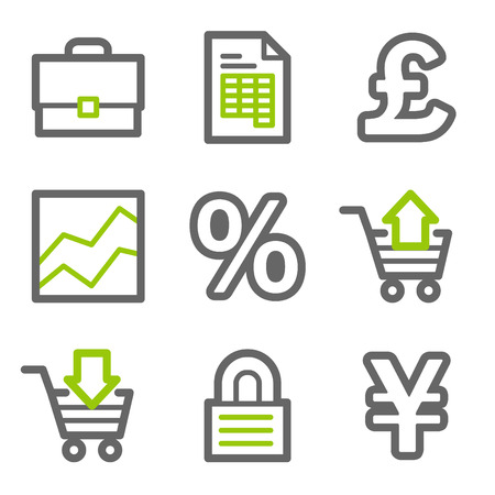 E-business web icons, green and gray contour series Vector