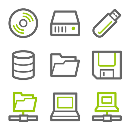 Drives and storage web icons, green and gray contour series Vector