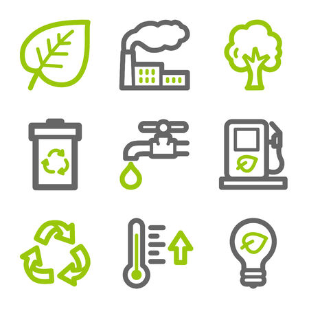 Eco web icons, green and gray contour series Stock Vector - 4437094