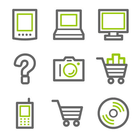 Electronics web icons, green and gray contour series