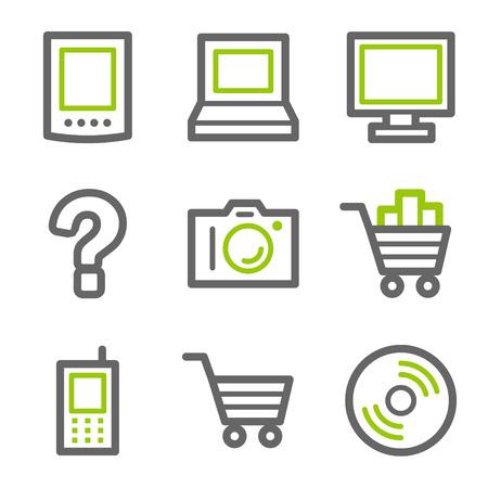 konturen: Elektronik-Web-Symbole, Gr�n und grau Kontur-Serie