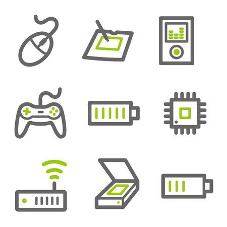 red lan: Web icons Electronics, serie de contorno verde y gris, serie 2 Vectores