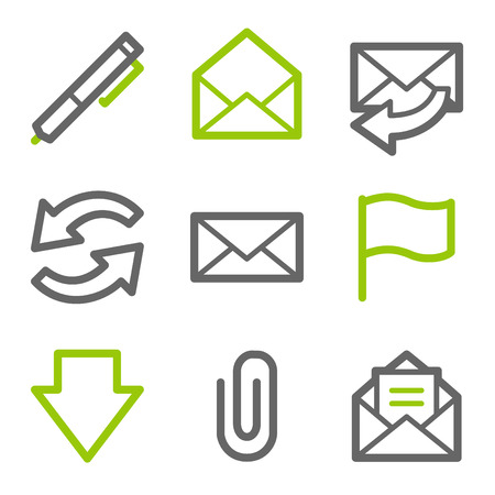 E-mail web icons, green and gray contour series Vector