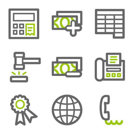 verify: Finance web icons, green and gray contour series set 2