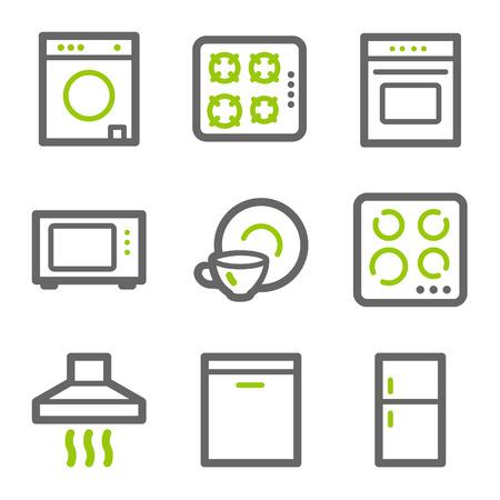 Home appliances web iconen, groene en grijze contour serie