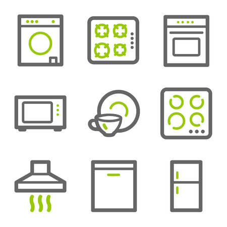 microwave oven: Home appliances web icons, green and gray contour series