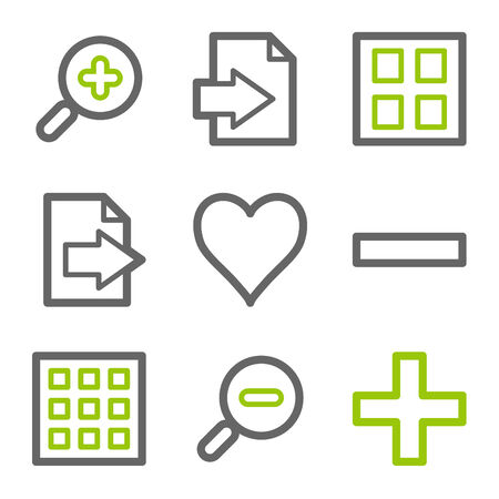 and viewer: Image viewer web icons, green and gray contour series Illustration