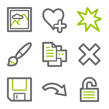 Image viewer web icons, green and gray contour series set 2 Vector