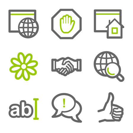 Internet communication web icons, green and gray contour series Иллюстрация