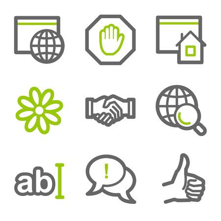 alianza: Serie de contorno de iconos de web de comunicaci�n de Internet, verde y gris