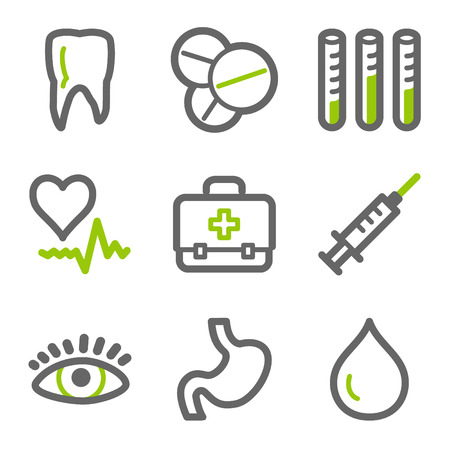 squirt: Medicine web icons, green and gray contour series
