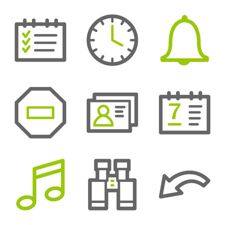 Organizer web icons, green and gray contour series Stock Vector - 4437111