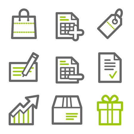 invoices: Shopping web icons, green and gray contour series Illustration
