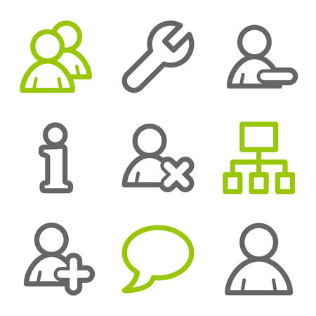 Users web icons, green and gray contour series Stock Vector - 4437101
